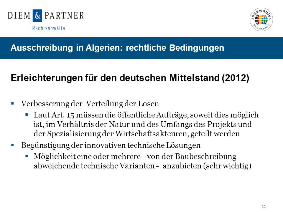 Erleichterungen für den deutschen Mittelstand (2012)