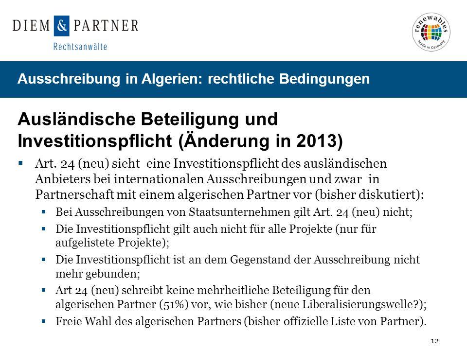 Ausländische Beteiligung und Investitionspflicht (Änderung in 2013)
