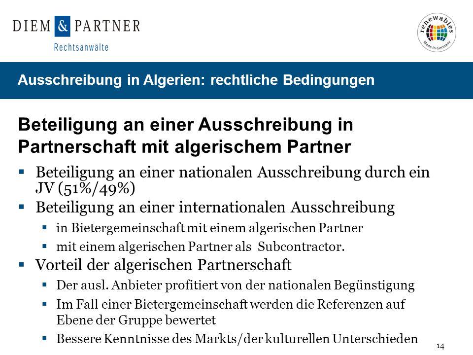 Beteiligung an einer Ausschreibung in Partnerschaft mit algerischem Partner