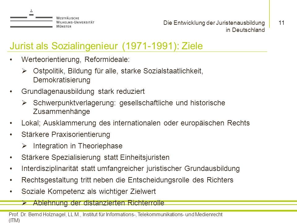 Jurist als Sozialingenieur (1971-1991): Ziele