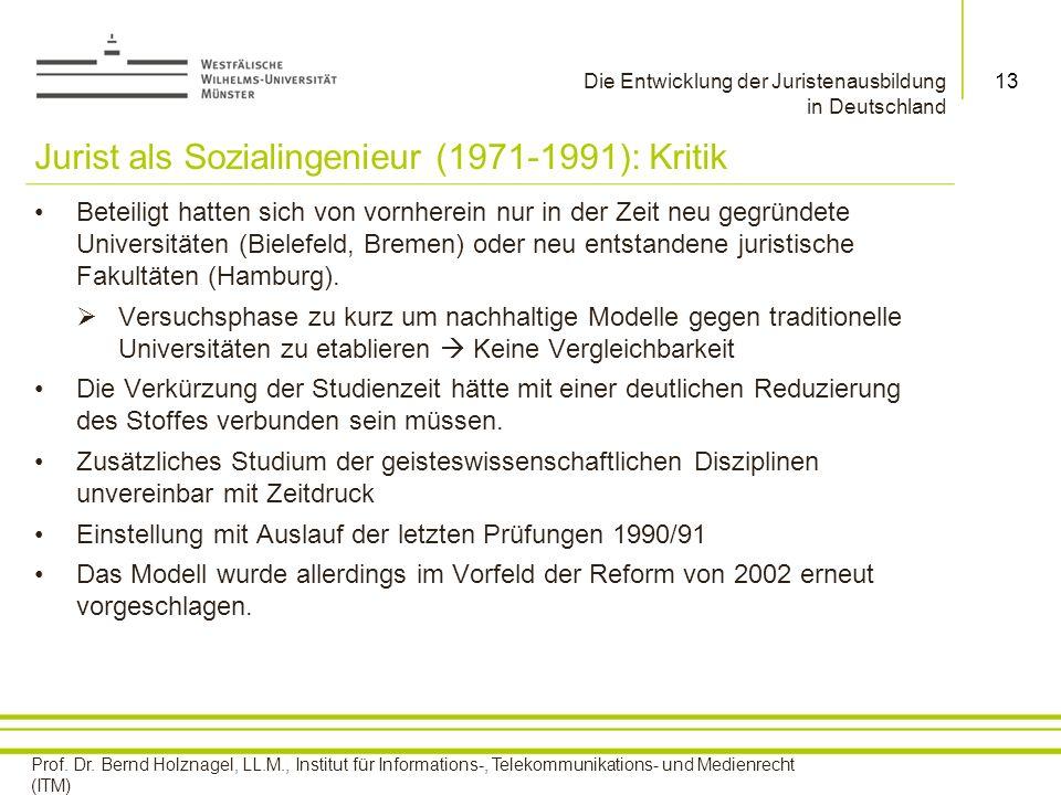 Jurist als Sozialingenieur (1971-1991): Kritik