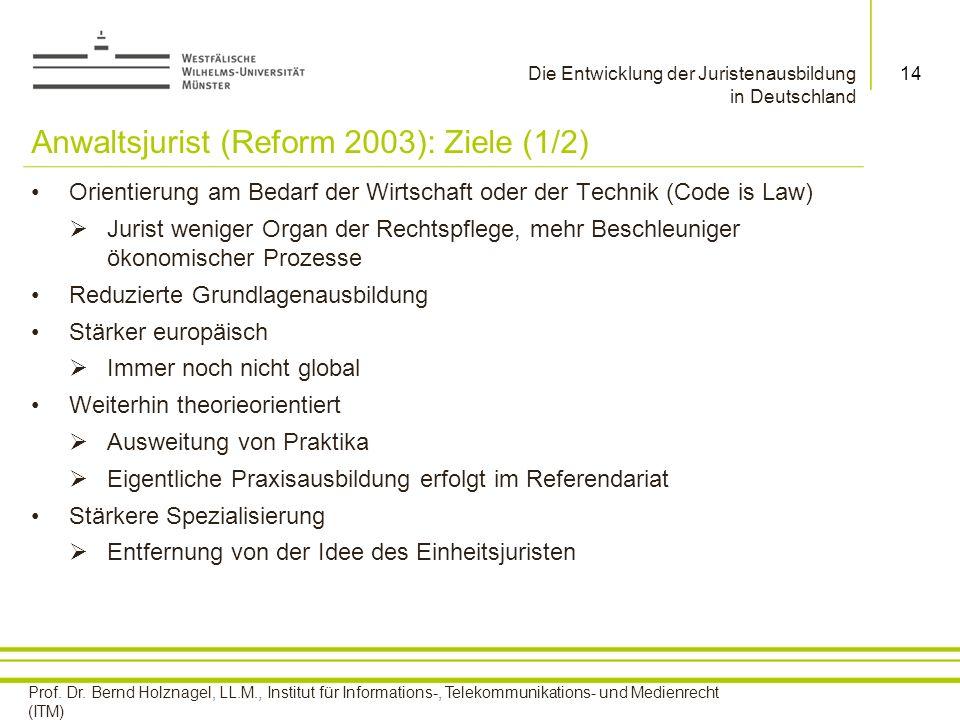 Anwaltsjurist (Reform 2003): Ziele (1/2)