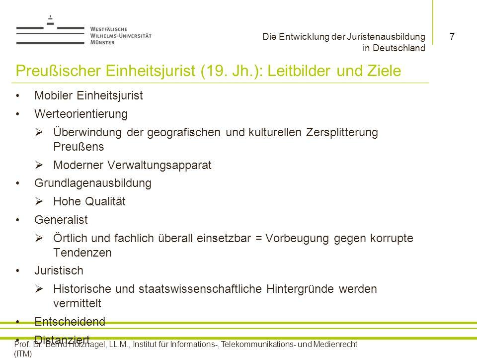 Preußischer Einheitsjurist (19. Jh.): Leitbilder und Ziele