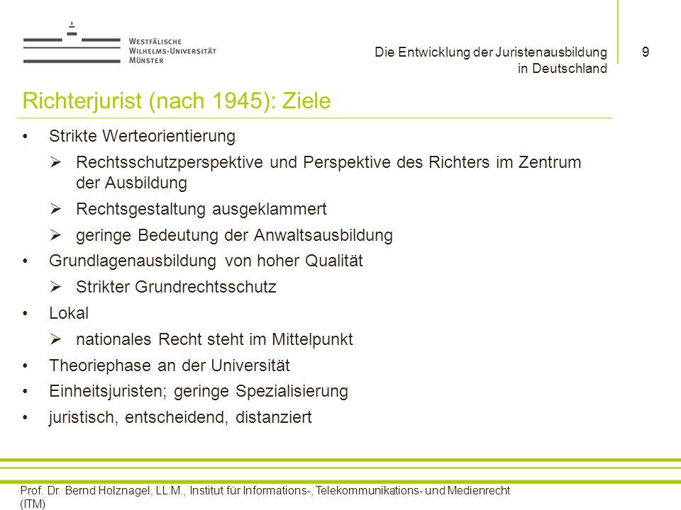 Richterjurist (nach 1945): Ziele