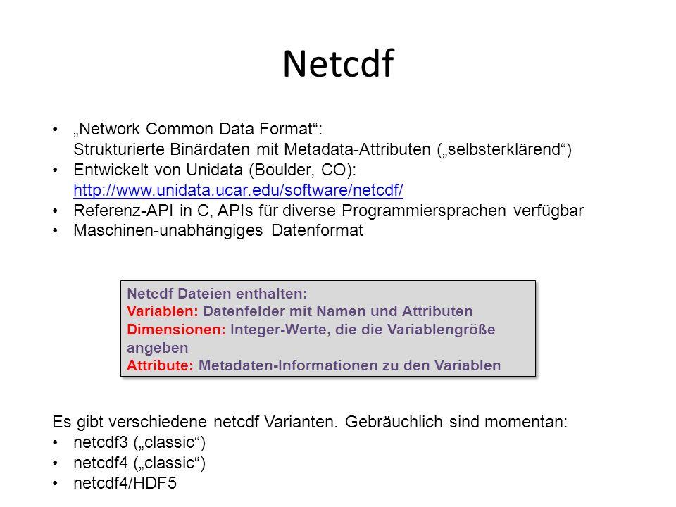 "Netcdf ""Network Common Data Format : Strukturierte Binärdaten mit Metadata-Attributen (""selbsterklärend )"
