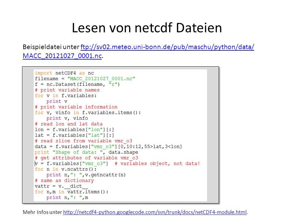 Lesen von netcdf Dateien