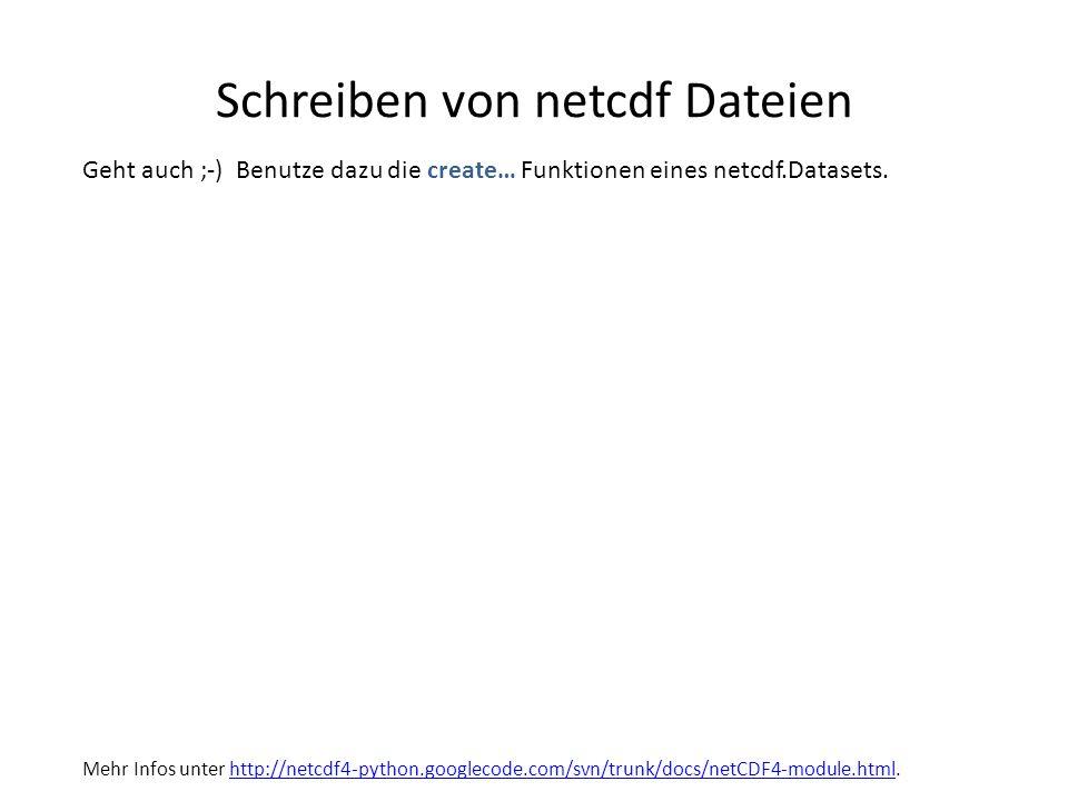 Schreiben von netcdf Dateien