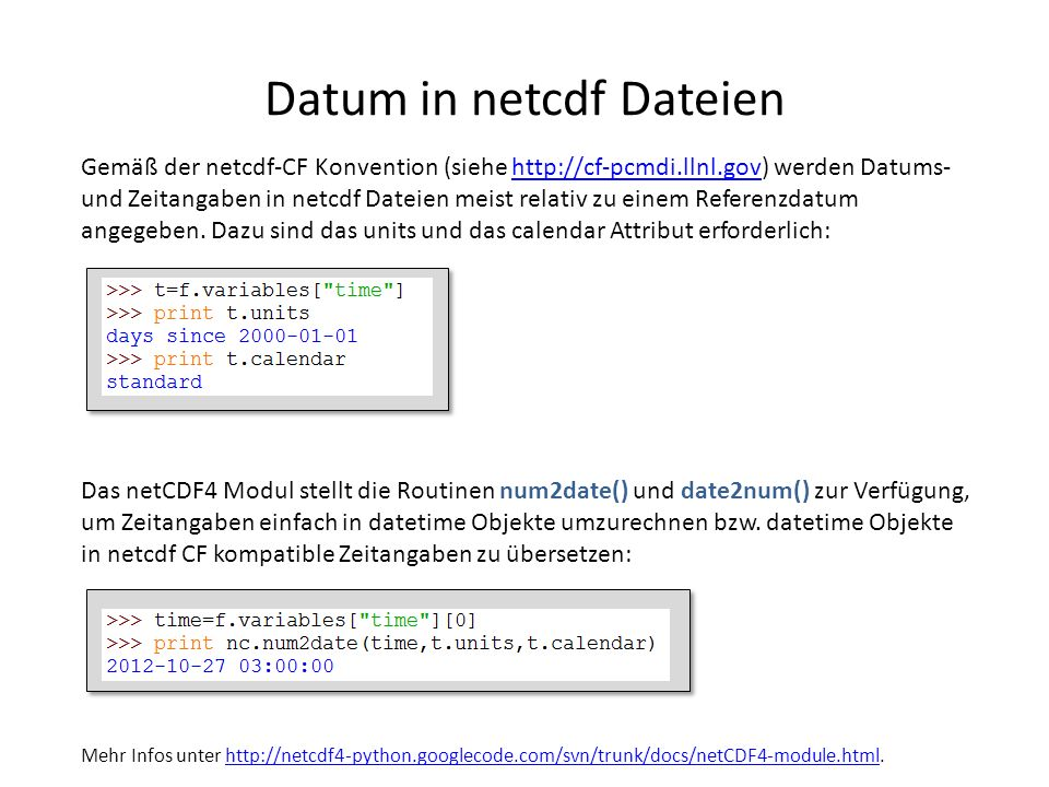 Datum in netcdf Dateien
