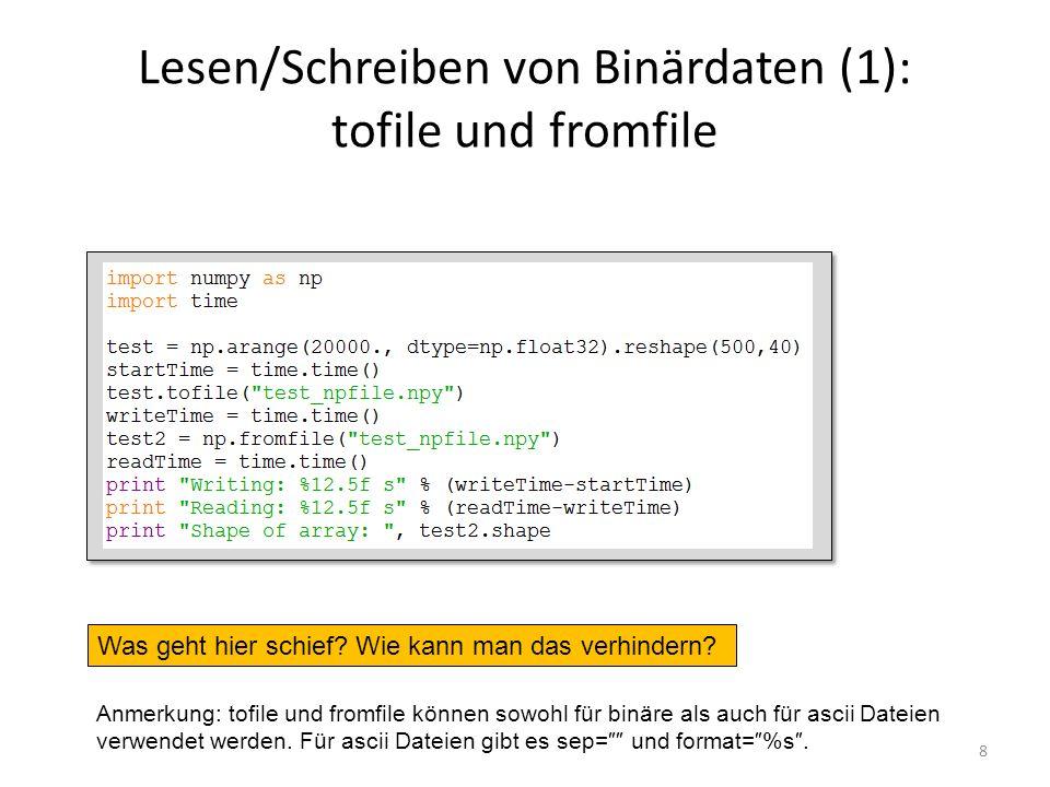 Lesen/Schreiben von Binärdaten (1): tofile und fromfile