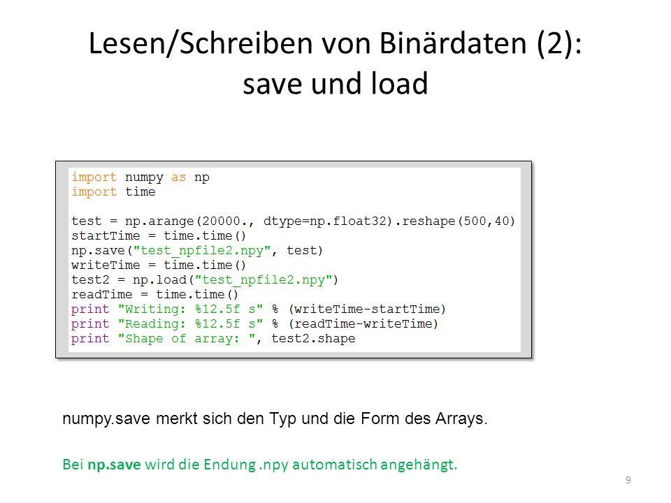 Lesen/Schreiben von Binärdaten (2): save und load
