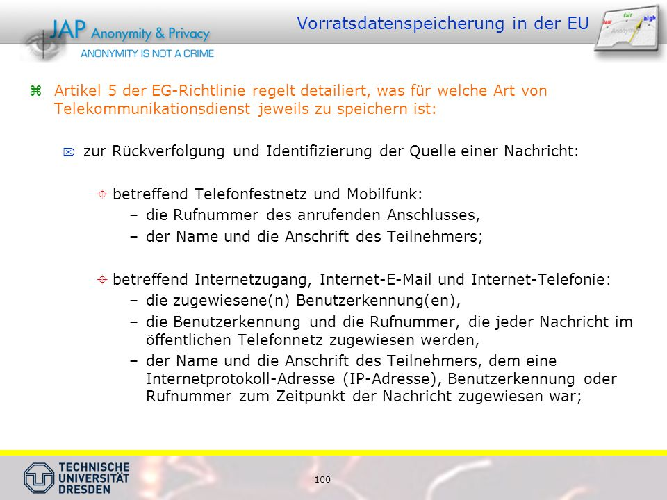 Vorratsdatenspeicherung in der EU