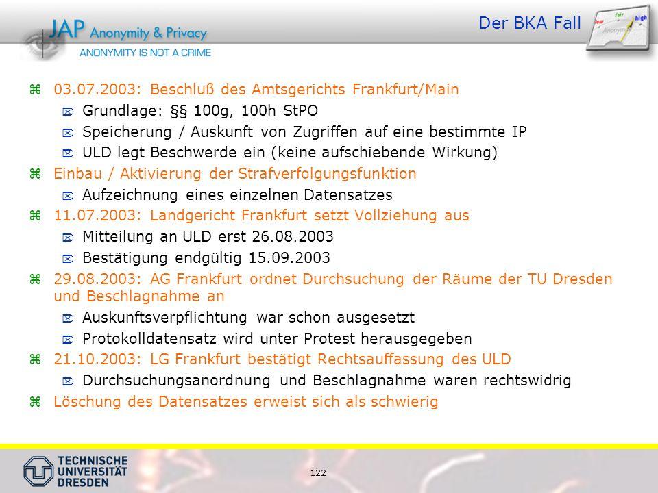 Der BKA Fall 03.07.2003: Beschluß des Amtsgerichts Frankfurt/Main