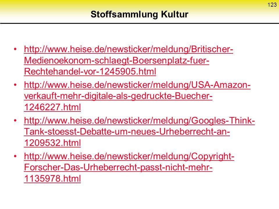 Stoffsammlung Kultur http://www.heise.de/newsticker/meldung/Britischer-Medienoekonom-schlaegt-Boersenplatz-fuer-Rechtehandel-vor-1245905.html.