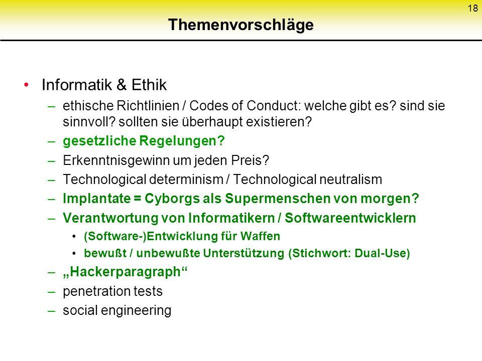 Themenvorschläge Informatik & Ethik