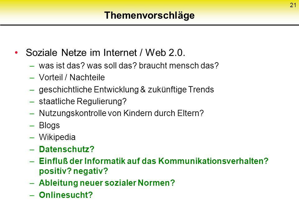 Soziale Netze im Internet / Web 2.0.
