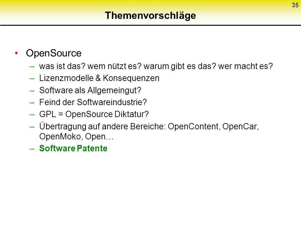 Themenvorschläge OpenSource