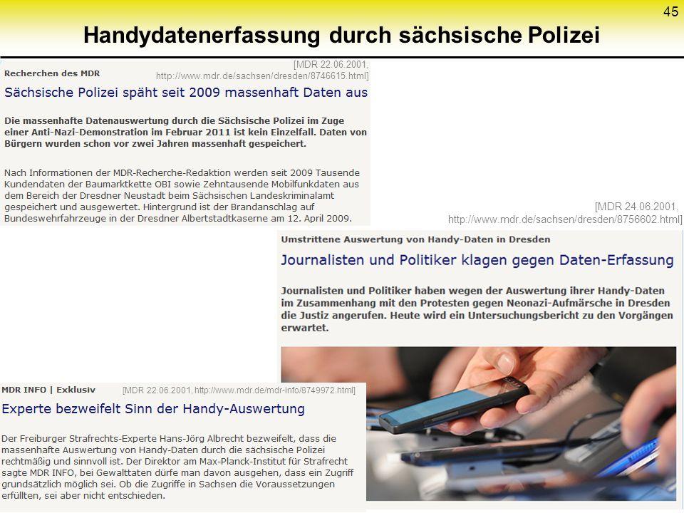 Handydatenerfassung durch sächsische Polizei