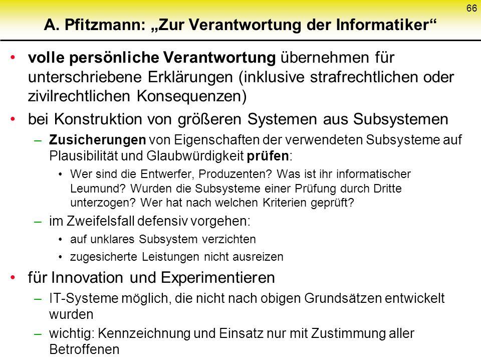 """A. Pfitzmann: """"Zur Verantwortung der Informatiker"""