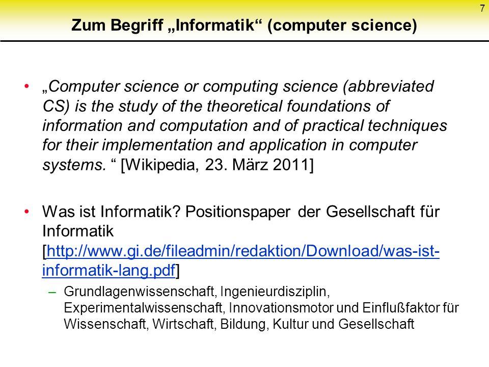 """Zum Begriff """"Informatik (computer science)"""