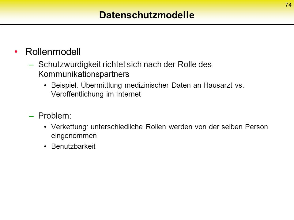 Datenschutzmodelle Rollenmodell