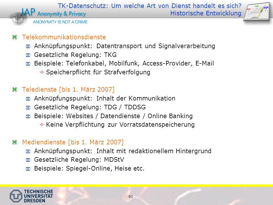 TK-Datenschutz: Um welche Art von Dienst handelt es sich