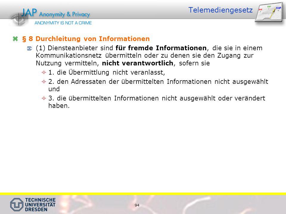 Telemediengesetz § 8 Durchleitung von Informationen