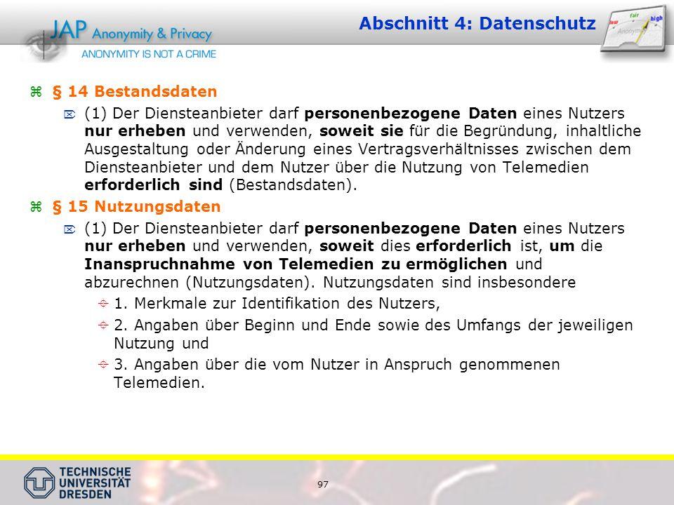 Abschnitt 4: Datenschutz