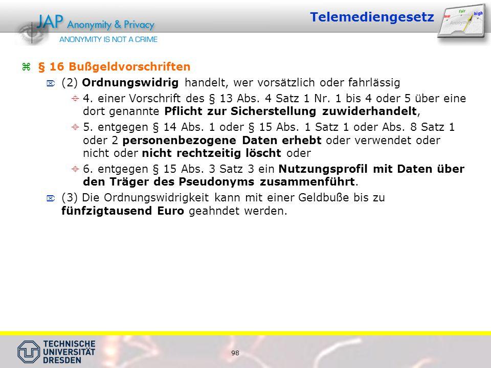 Telemediengesetz § 16 Bußgeldvorschriften