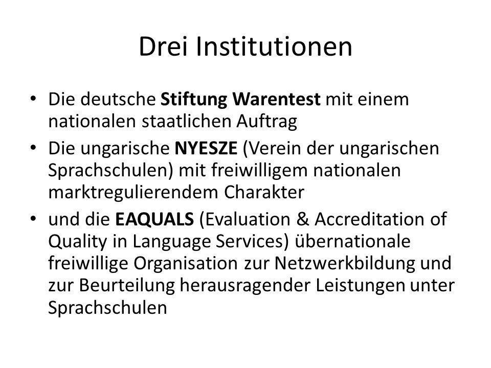 Drei InstitutionenDie deutsche Stiftung Warentest mit einem nationalen staatlichen Auftrag.