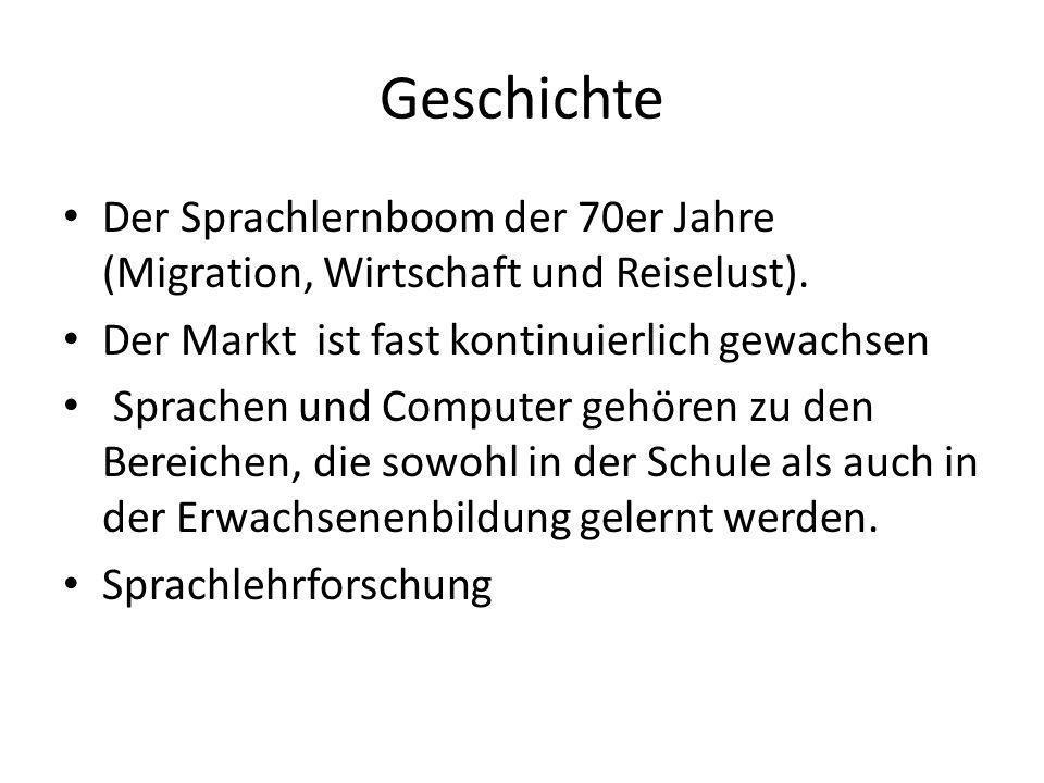 GeschichteDer Sprachlernboom der 70er Jahre (Migration, Wirtschaft und Reiselust). Der Markt ist fast kontinuierlich gewachsen.