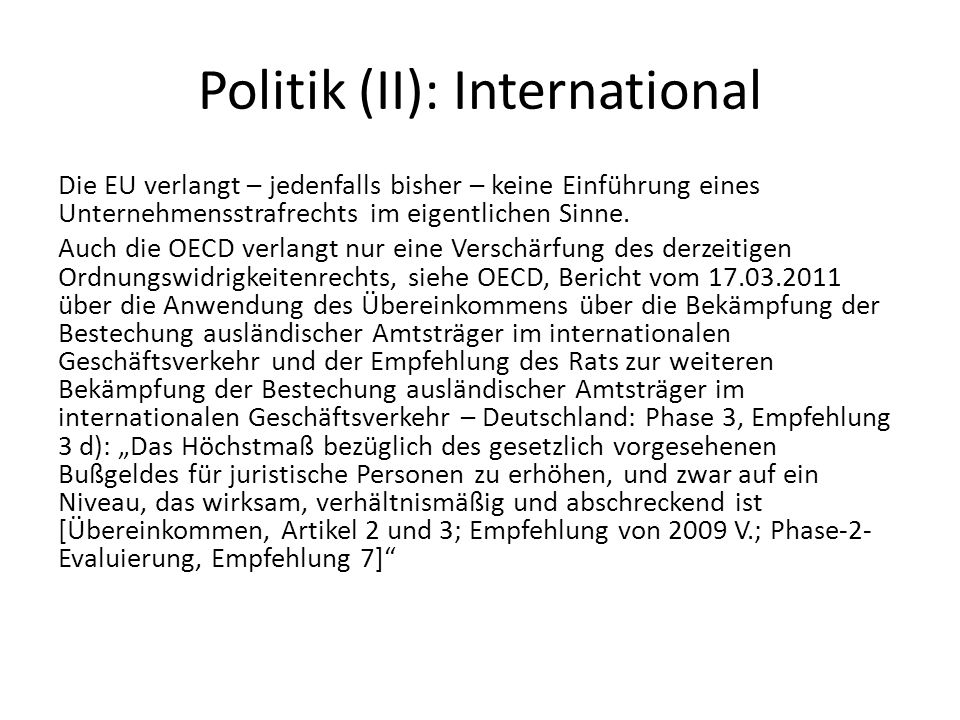 Politik (II): International