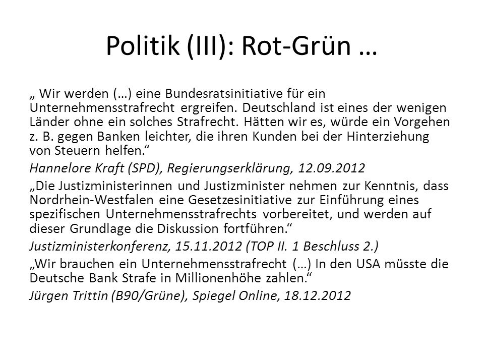 Politik (III): Rot-Grün …