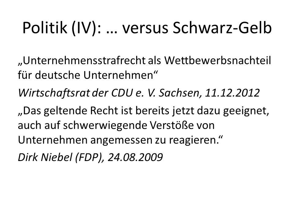Politik (IV): … versus Schwarz-Gelb