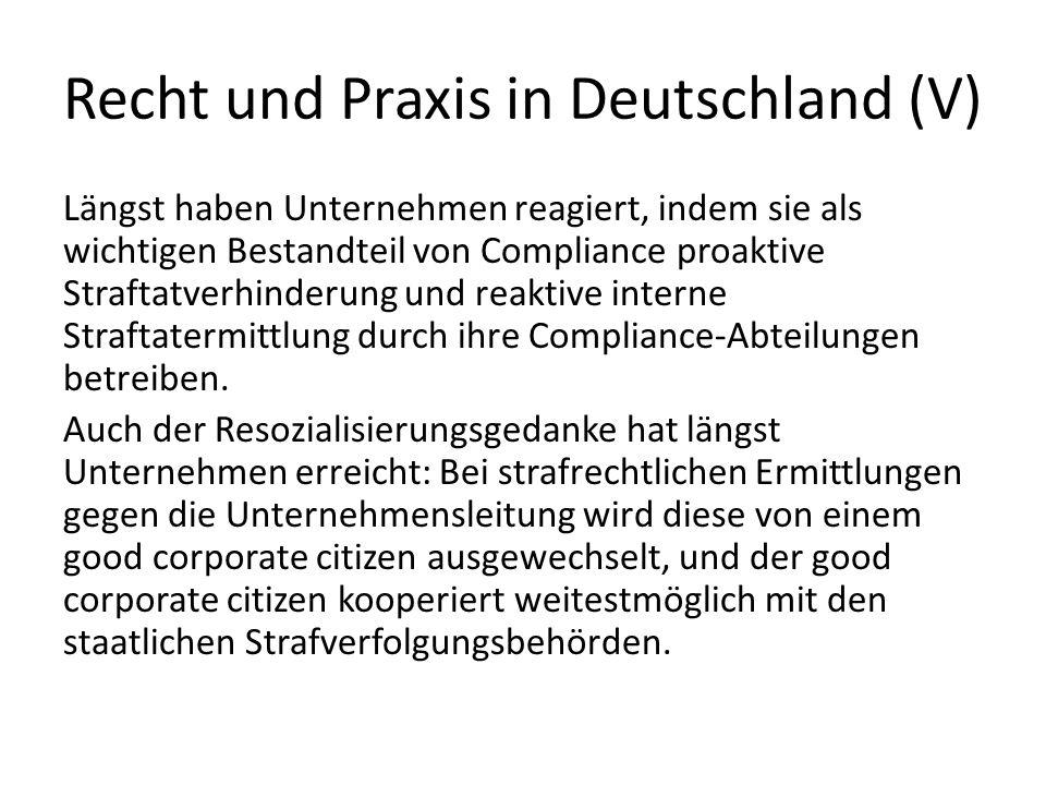 Recht und Praxis in Deutschland (V)