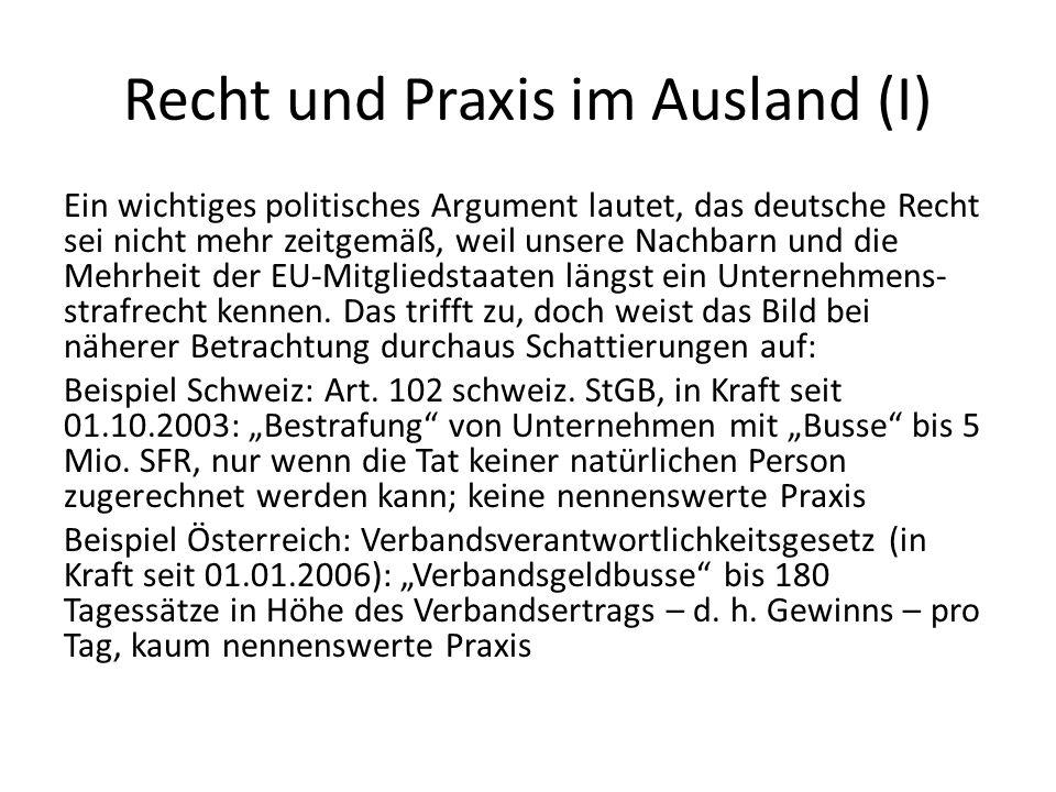 Recht und Praxis im Ausland (I)