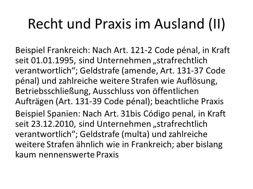 Recht und Praxis im Ausland (II)