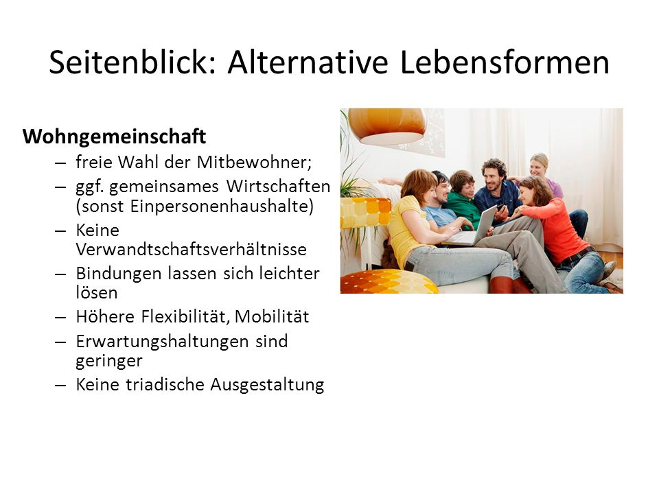 Seitenblick: Alternative Lebensformen