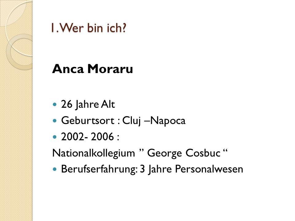 1. Wer bin ich Anca Moraru 26 Jahre Alt Geburtsort : Cluj –Napoca