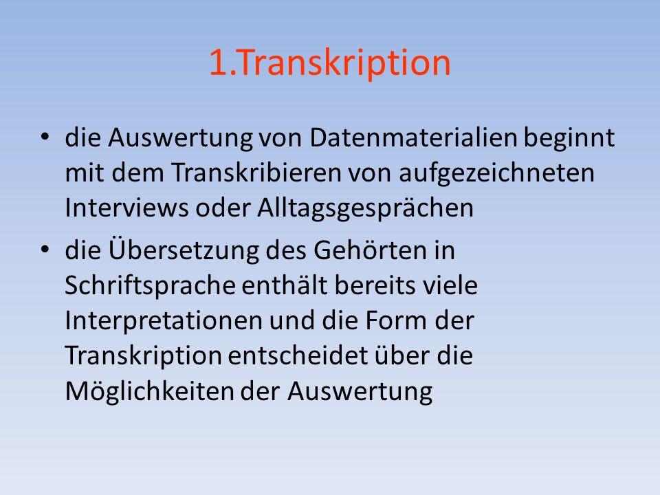 1.Transkription die Auswertung von Datenmaterialien beginnt mit dem Transkribieren von aufgezeichneten Interviews oder Alltagsgesprächen.
