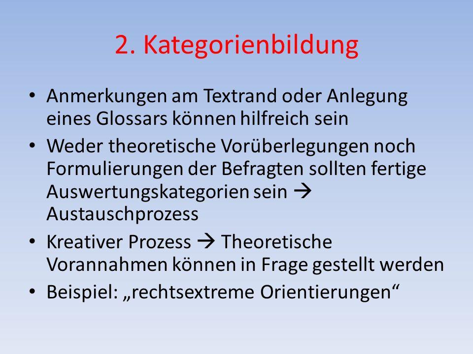 2. Kategorienbildung Anmerkungen am Textrand oder Anlegung eines Glossars können hilfreich sein.