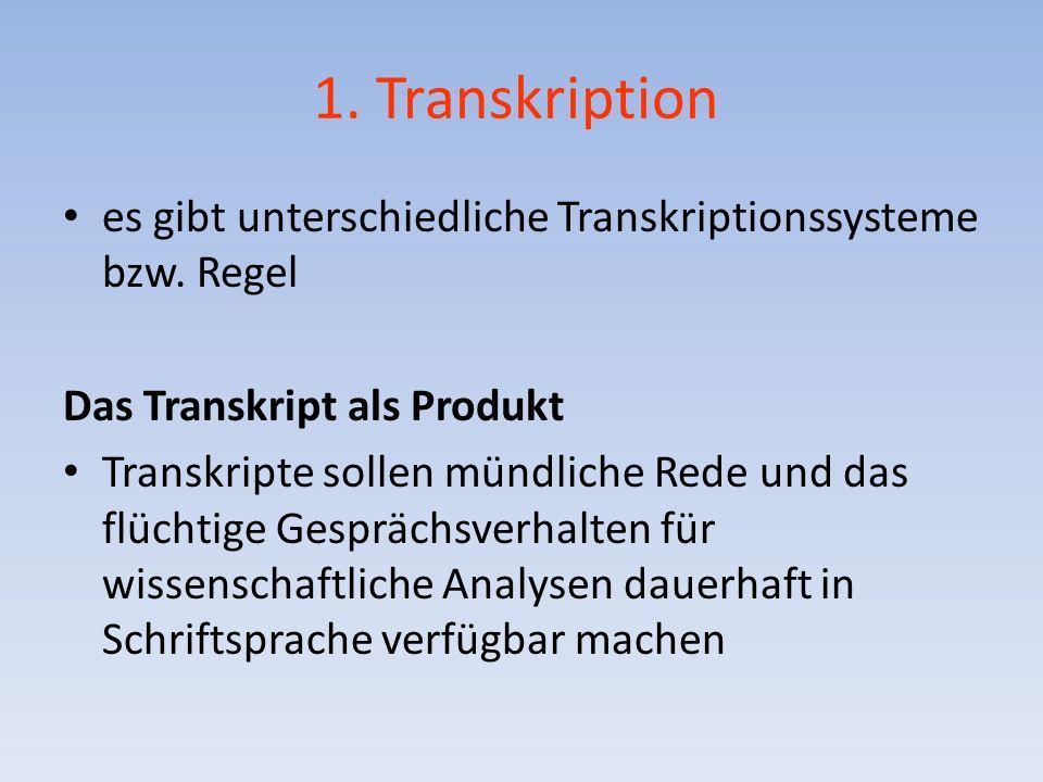 1. Transkription es gibt unterschiedliche Transkriptionssysteme bzw. Regel. Das Transkript als Produkt.