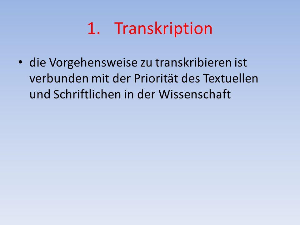 Transkription die Vorgehensweise zu transkribieren ist verbunden mit der Priorität des Textuellen und Schriftlichen in der Wissenschaft.