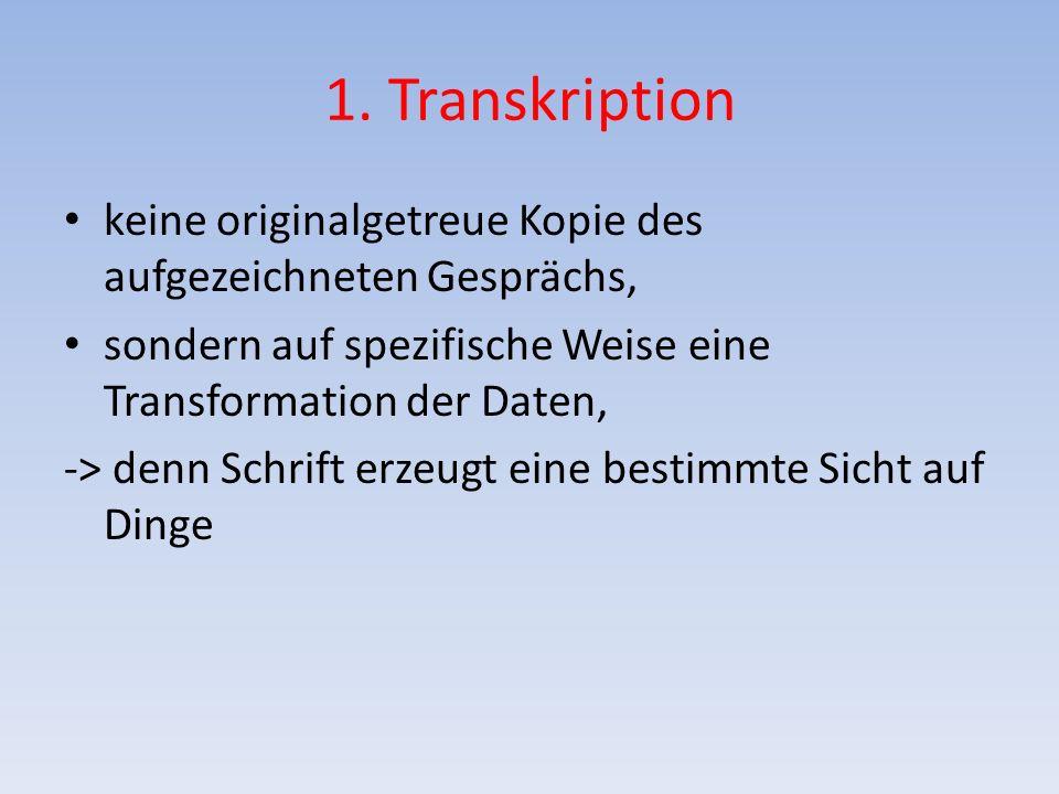 1. Transkription keine originalgetreue Kopie des aufgezeichneten Gesprächs, sondern auf spezifische Weise eine Transformation der Daten,