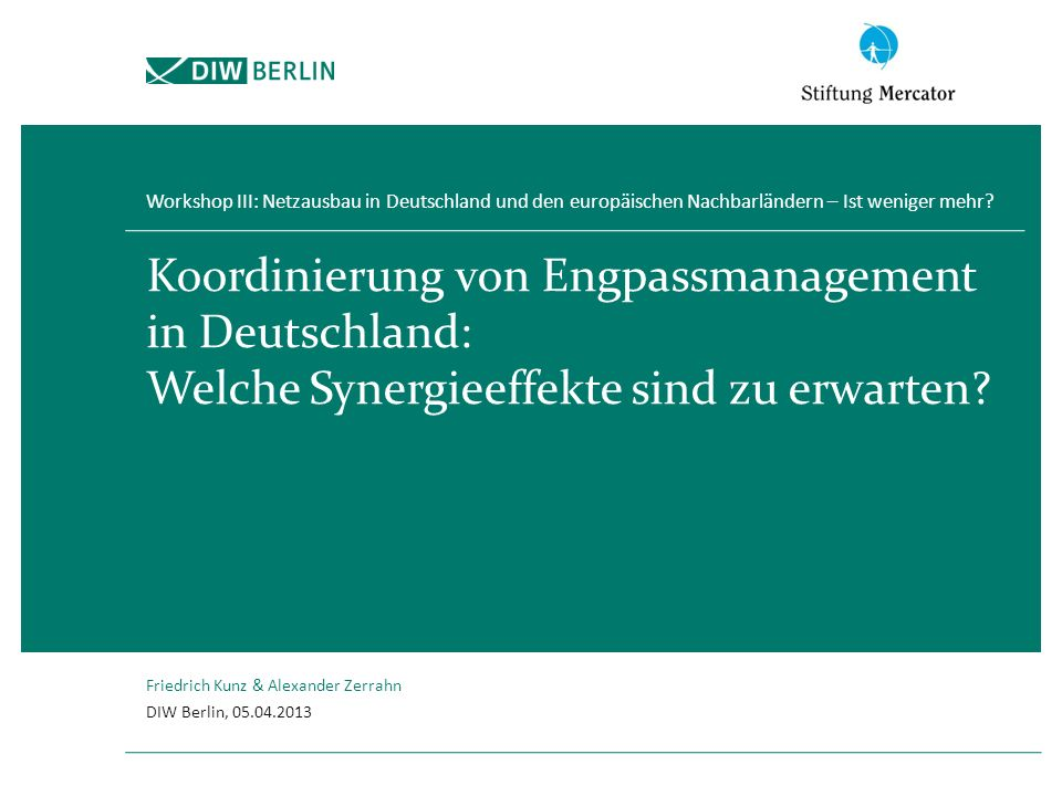 Workshop III: Netzausbau in Deutschland und den europäischen Nachbarländern – Ist weniger mehr