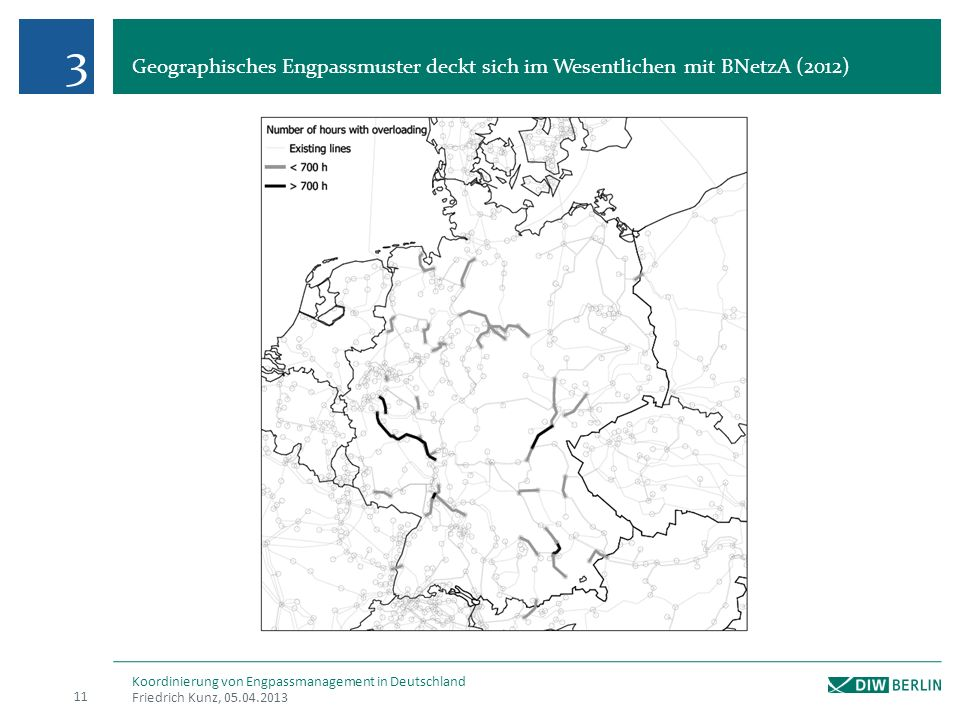 3 Geographisches Engpassmuster deckt sich im Wesentlichen mit BNetzA (2012) Koordinierung von Engpassmanagement in Deutschland.