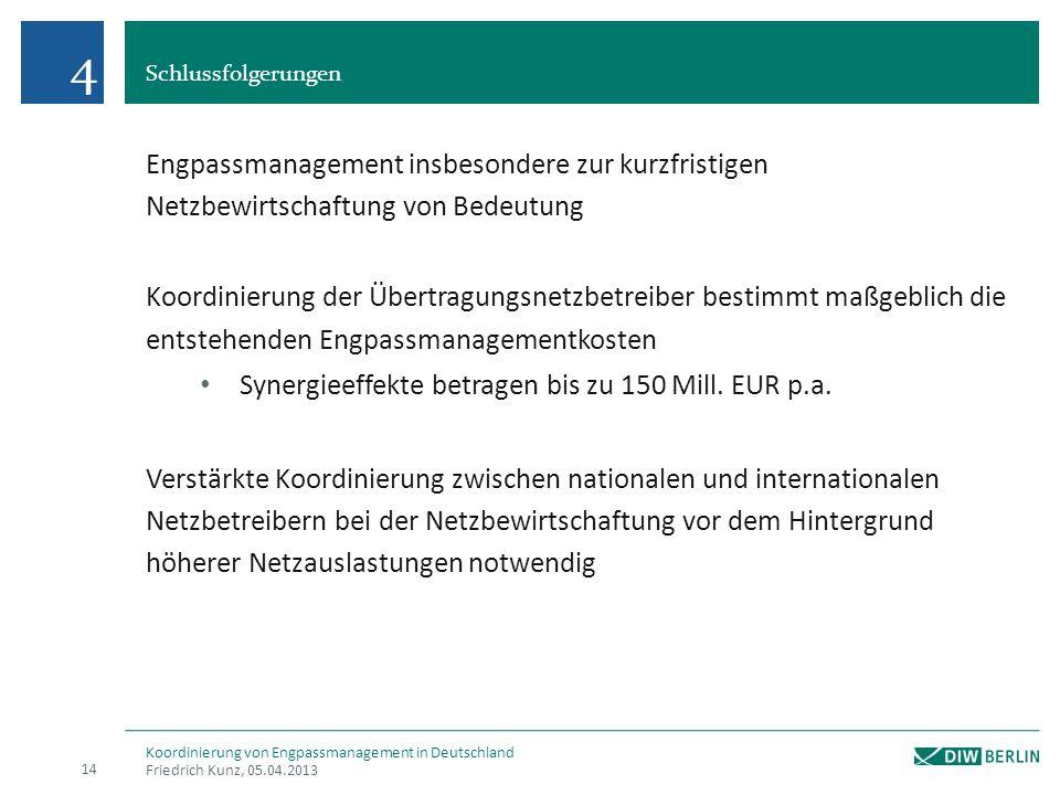 4 Schlussfolgerungen. Engpassmanagement insbesondere zur kurzfristigen Netzbewirtschaftung von Bedeutung.