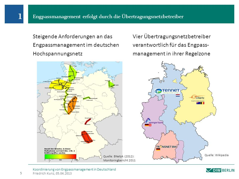 1 Engpassmanagement erfolgt durch die Übertragungsnetzbetreiber. Steigende Anforderungen an das Engpassmanagement im deutschen Hochspannungsnetz.