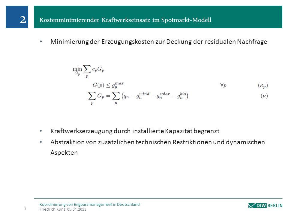 2 Kostenminimierender Kraftwerkseinsatz im Spotmarkt-Modell. Minimierung der Erzeugungskosten zur Deckung der residualen Nachfrage.