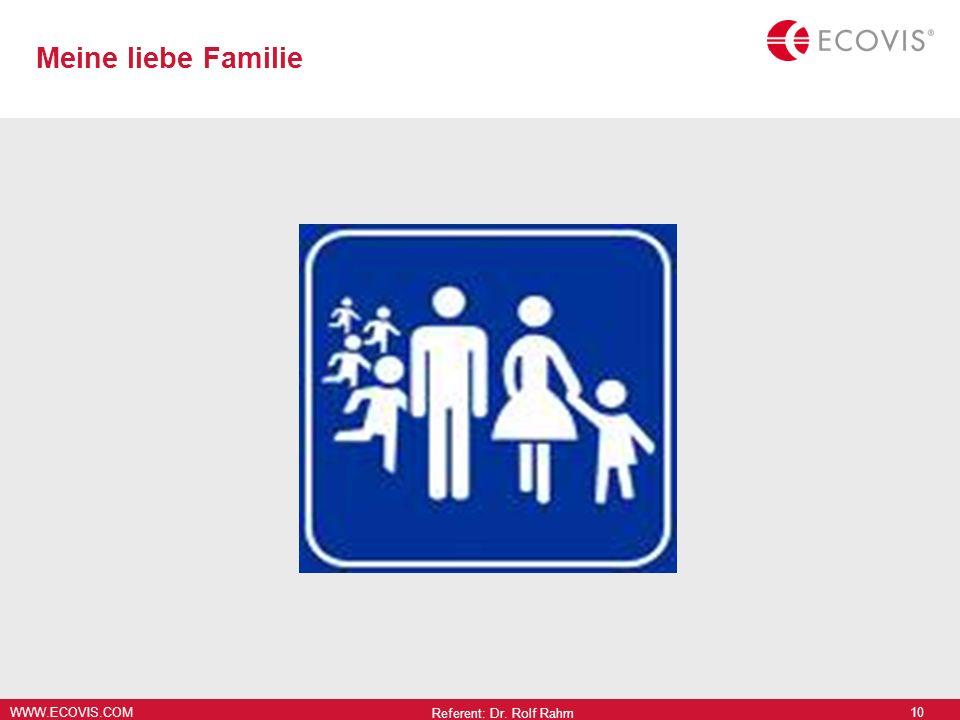 Meine liebe Familie Referent: Dr. Rolf Rahm