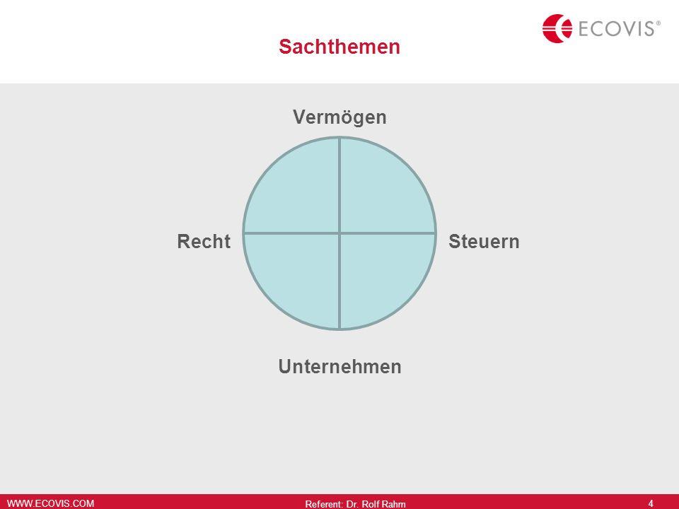 Sachthemen Vermögen Recht Steuern Unternehmen Referent: Dr. Rolf Rahm